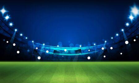 Football arena field with bright stadium lights vector design Stockfoto - 130775957