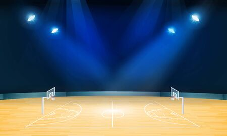 Basketball arena field with bright stadium lights design. Vector illumination Stock Illustratie
