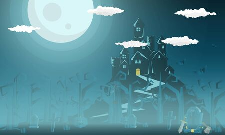 Death at the Grave in the cemetery Rest in peace for halloween party- Mobile Game 2d game Stock Illustratie