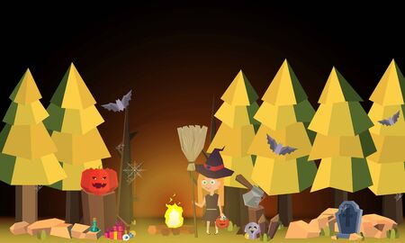 The little witch in the cemetery for halloween party- Mobile Game 2d game
