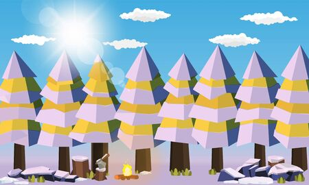 Camping area in forest summer camp Pine forest concept  sunny day sunrise landscape  nature snow background vector design Illustration