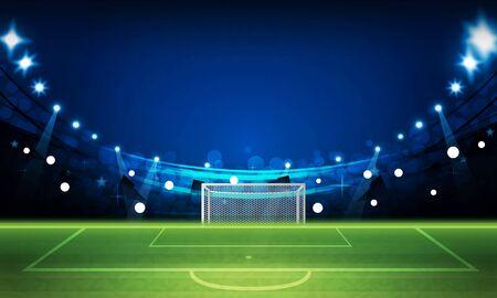 Terrain de football avec des lumières lumineuses du stade vector design Illumination vectorielle