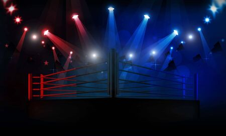 Boxing ring arena and spotlight floodlights vector design. Vector illumination