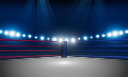 Bokeh abstracto Color dorado claro con luz suave Arena de ring de boxeo y reflectores de diseño vectorial.