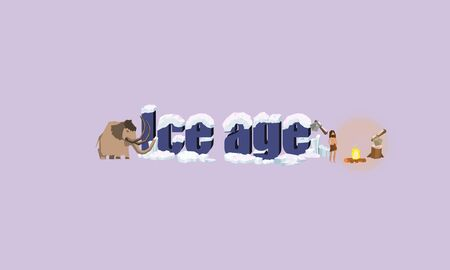 Stone letter with ice and Stone Age Man vector design Illustration