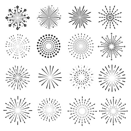 firework line icon set and happy new year firework vector design
