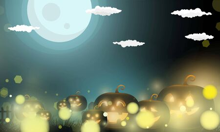 Abstract bokeh Light gold color with soft light background for Dark Cute halloween pumpkins vector magic holiday poster design. Иллюстрация