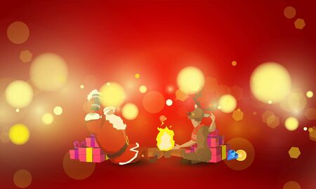 Santa and the little deer sitting on a celebration at the bonfire And gifts on red background for vector magic holiday poster design