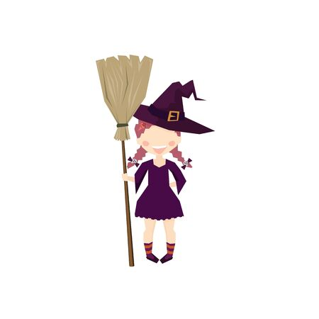 The witch Holding a broom. halloween Funny and cute carnival kids. Draw with angles vector design