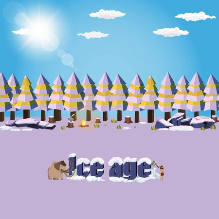 Stone Age Man and Mammoth in ice age snow nature background vector design