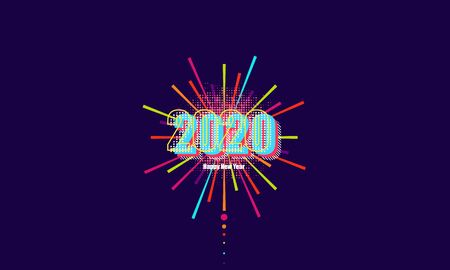 2020, Greeting card with inscription Happy New Year 2020 on Firework background  vector design