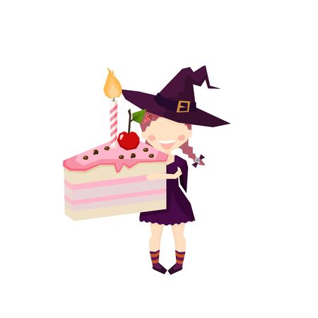 The witch Holding a Cake Pink. halloween Funny and cute carnival kids. Draw with angles vector design
