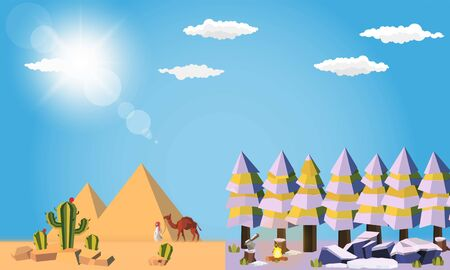 Cold snow and very hot deserts at sun on wild nature and tourism theme vector design.