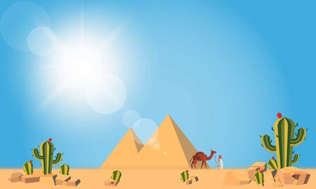 Camel convoy with arabic people in desert with pyramid Caravan on desert meadow at sun on wild nature and tourism theme vector design.