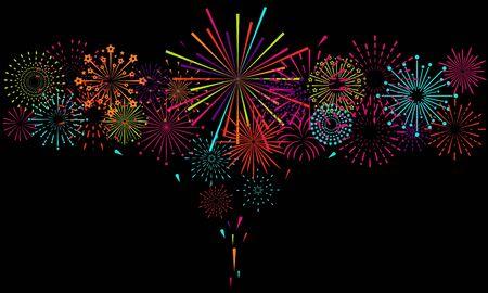 Firework happy new year festive background  vector design
