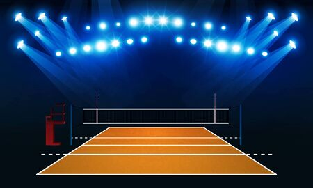Volleyball court arena field with bright stadium lights vector design.
