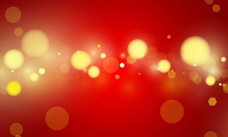 Abstract bokeh Light gold color with red background for wedding vector magic holiday poster design.