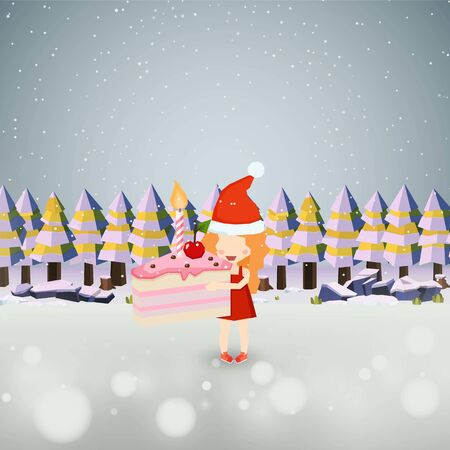 Santa Girl Holding a Pink Cake on the ground nature snow background vector design