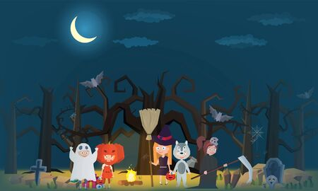 The little witch And children wearing fantasy ghosts in the cemetery for halloween party- Mobile Game 2d game Banco de Imagens