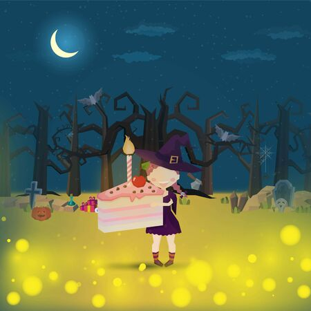 The witch Holding a Cake Pink. halloween Funny and cute carnival kid Draw with angles in the cemetery for halloween party- Mobile Game 2d game
