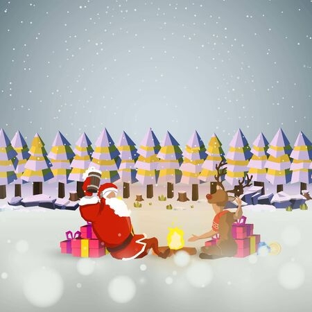 Santa and the little deer sitting on a celebration at the bonfire And gifts on the ground nature snow background vector design