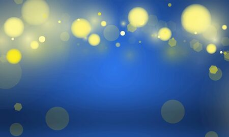 Abstract bokeh Light gold color with blue background for wedding vector magic holiday poster design. 向量圖像