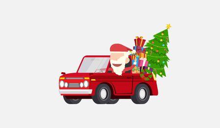 Santa claus drives car gives gifts christmas card and wallpaper flat vector design.