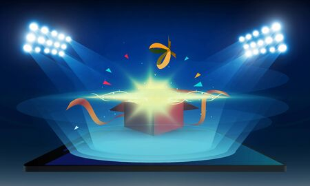 Bright stadium lights open gift box with order online from mobile and Phone vector design.. Illustration