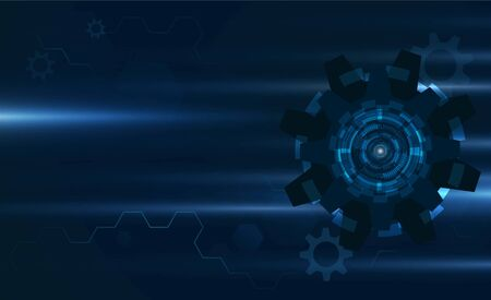 Abstract gear speed light out technology background Hitech communication concept innovation background  vector design