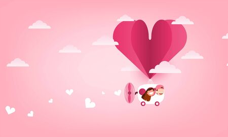 Cute cartoon Wedding couple men and women card drives Balloon heart  launch and heart cloud. Startup - flat design., cute Valentine's Day card