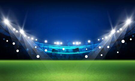 Het veld van de voetbalarena met het heldere vectorontwerp van stadionlichten Vectorverlichting