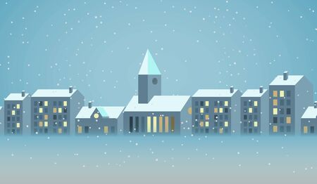 Winter city christmas landscape and Christmas background with tale houses vector design.