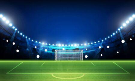 Campo de arena de fútbol con diseño vectorial de luces brillantes del estadio Iluminación vectorial