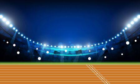 Campo de la arena de la pista de atletismo con luces brillantes del estadio en el diseño del vector de la noche
