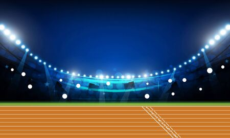 Terrain d'arène de piste de course avec des lumières lumineuses du stade à la conception de vecteur de nuit