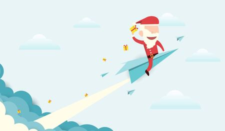 Santa claus riding a paper plane and smoke through cloud flat vector design.