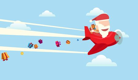 Santa claus drives airplane gives gifts christmas card and wallpaper flat vector design. Illustration