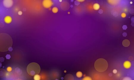 Abstract bokeh Light gold color with soft light purple background for wedding vector magic holiday poster design.