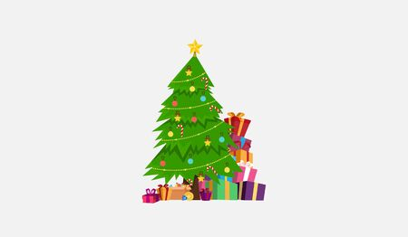 christmas tree and gift box for wallpaper card flat vector design.