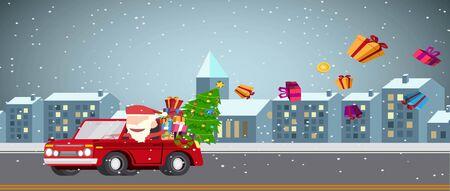 Santa claus drives car gives gifts on road christmas card and wallpaper flat vector design. Illustration