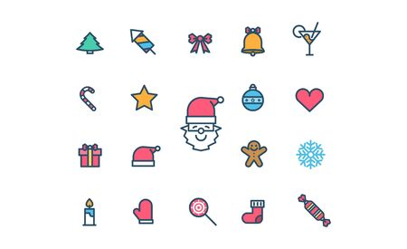 Christmas icon collection thin line style flat vector design.