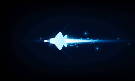High speed concept. Fighter jet in the form of Arrow Light out technology background Hitech communication concept innovation background, vector design