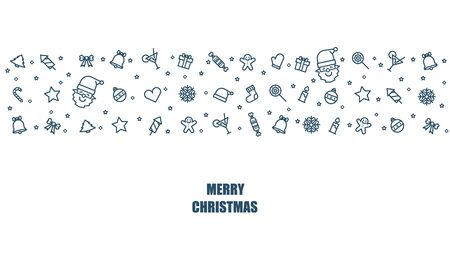 Christmas icon thin line style flat vector design background.