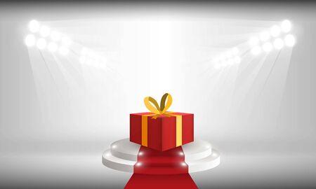 Bright stadium lights open gift box with merry christmas vector design. Illustration