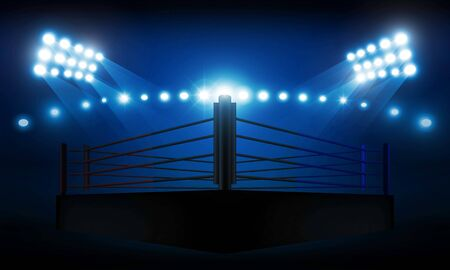 Boxing ring arena and spotlight floodlights vector design.