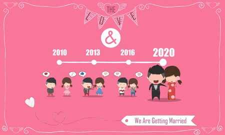 Duration cute cartoon Wedding couple men and women card for China dress, cute Valentines Day card, drawing by hand vector design