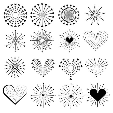 firework line icon set and Valentine's day heart happy new year firework vector design