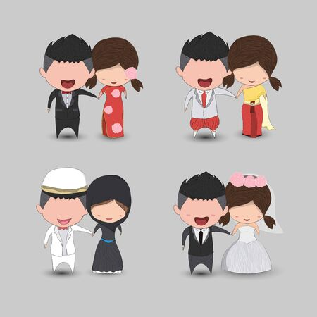 Set cute cartoon Wedding couple men and women marriage, cute Valentines Day card, drawing by hand vector  design Иллюстрация