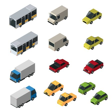 Transport isometric set with bus car isolated vector design