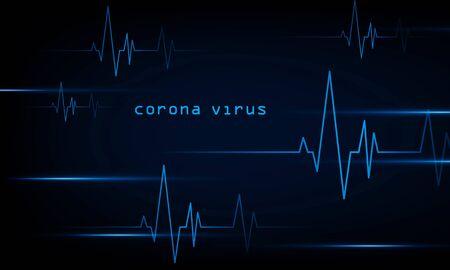 abstract technology lights dark backdrop with Arrow Light Coronavirus Blue Heart pulse monitor with signal. Heart beat. icon. Hitech communication. Coronavirus Infection